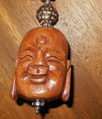 ESTATE SALE rare lucky buddha head carved wood pendant craft Jewelry making