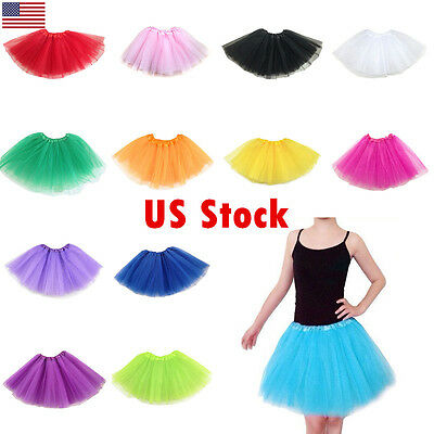 3 Layers Colored Gauze Tulle Skirt Ballet Dance Girl Adult Tutu Skirts Dresses
