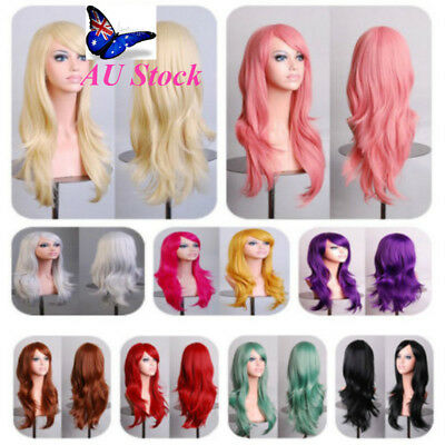 AU Brand New Women's Heat Resistant Long Cury Full Wig 13 Colors Cosplay Hair