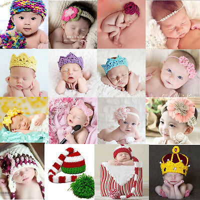 Newborn Baby Crown Girls Boys Crochet Knit Costume Photo Photography Props Hat