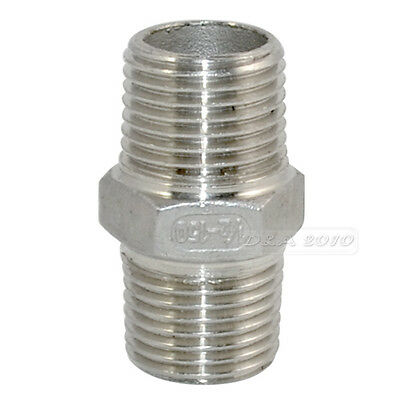"1/2"" Male x 1/2""  Male Hex Nipple Stainless Steel 304 Threaded Pipe Fitting BSPT"