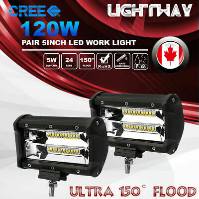 2X 5inch 120W CREE Flood Beam LED Work Light Bar Offroad Work Driving Lamp 4WD