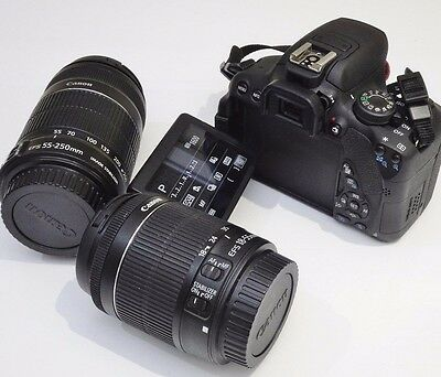 AS NEW Canon EOS 700D FLIP DSLR Camera + EF-S 18-55 IS  STM &  55-250 IS Lens