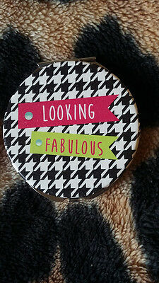 Houndstooth like Clueless cute girly compact mirror black white slogan new 80s