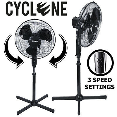 Cyclone Floor Standing Pedestal Fan 16 Inch Oscillating Electric 3 Speed