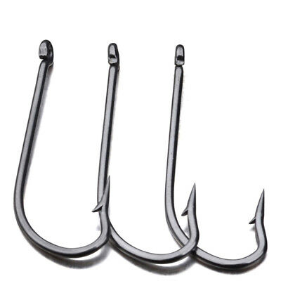 100Pcs/lot Fishing Hooks Black Fish Hooks Stainless Steel Hooks 8 Sizes Solid