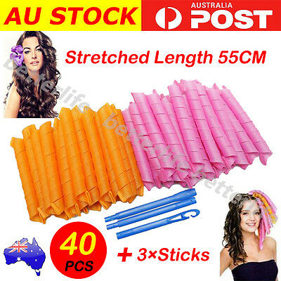 New 40PCS 55cm Magic Hair Curlers Curl Formers Spiral Ringlets Leverage Rollers