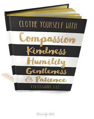 Writing Journal Gold Pages Black & White Strips Colossians 3:12 New