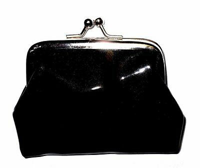 Girls Black Shiny Purse Coin Clasp School Dinner Money Gifts Stocking Fillers