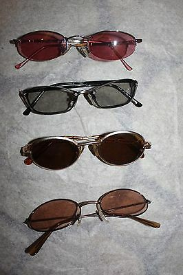 1990s Four Pairs of Girls' Sunglasses Grey Pink Brown Lenses and Metal Frames