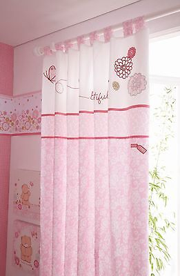 Forever Friends  Baby Nursery Girls Pink Floral Tab Top 132x163cms Curtain Pair