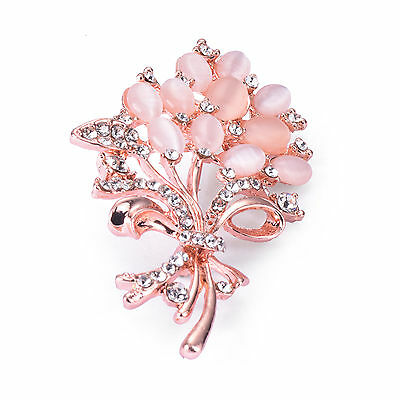 Gorgeous Rose Gold Plated Flower Crystal Statement Brooch