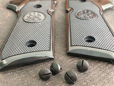 NEW BERETTA 92FS 92F GRIP SET - CHECKERED FACTORY SET  PLASTIC + Screw 077