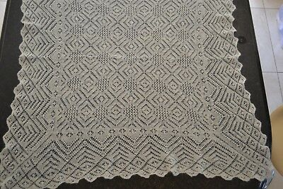 Antique/vintage Hand Made Baby Christening Shawl 100% Wool