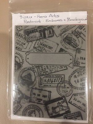 Sizzix - Hero Arts, Postmark Stamp And Matching Embossing Plate. New.