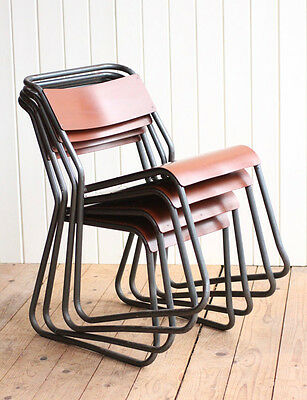 Vintage Industrial Set of 4 Stacking Bakelite Dining Chairs Cox Style