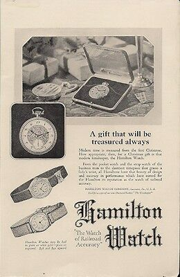 Hamilton Pocket Watch the Watch of Railroad Accuracy Vintage Ad 1923