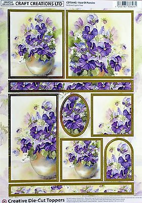 A4 DIE CUT 3D FOILED CARD TOPPER SHEET PAPER TOLE Vase of Pansies CDT564G