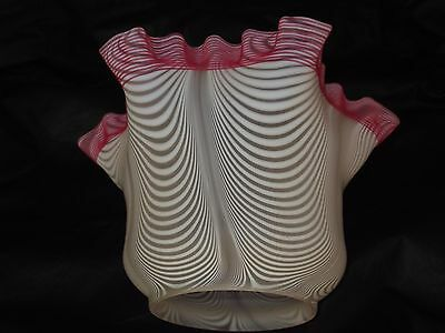 """Victorian Nailsea Glass Oil Lamp Shade. 4"""" fit. Clichy glass."""