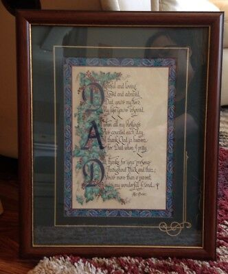"""DAD Father Poem Picture Vintage Home Interiors 12"""" x 15"""""""
