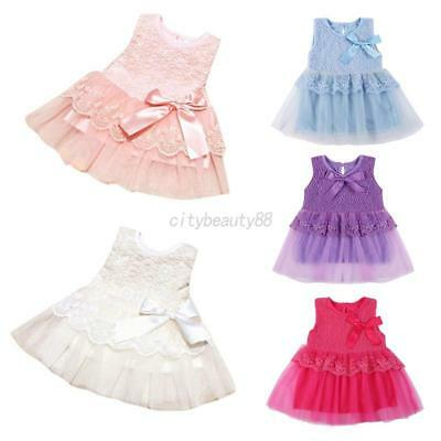 US Newborn Baby Girl Princess Sleeveless Bow Flower Pageant Wedding Party Dress