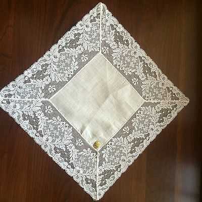 ATQ French Lace Handkerchief Pure Linen Victorian /Wedding/ hankie/Never Used