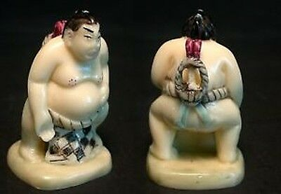 Estate Japanese ivory colored bone Netsuke-sexy sumo wrestler on stand