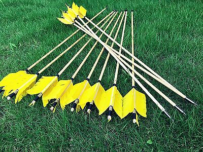 New Handmade Flu flu arrow wooden arrows Yellow feather Target wood arrows