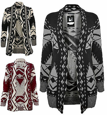 women's chunky knitted aztec print open cardigan long sleeve PLUS SIZE