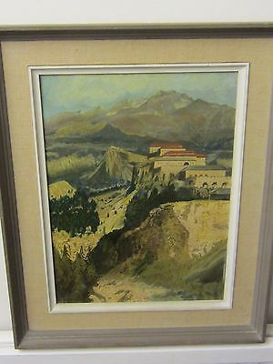 Original Oil of an Alpine view in Savoie France by E.Loram East Kent Art society