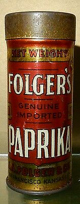 Folgers spice tin rare round Paprika 1920's advertising