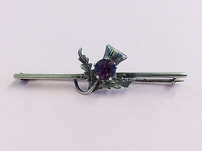 Antique Sterling Silver & Amethyst Glass Thistle Brooch Pin 1920