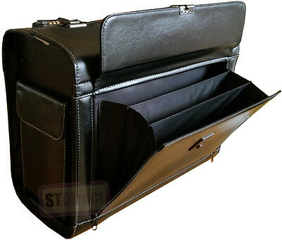 Large Faux Leather Pilot Case Expanding Lockable Concertina Pocket Briefcase Bag