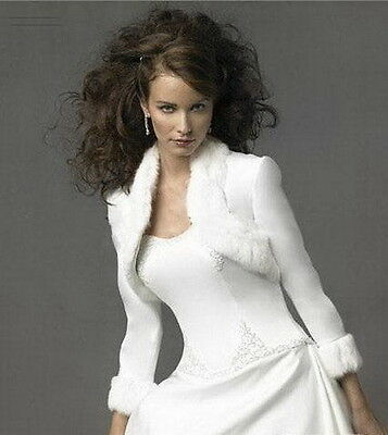 Bridal shawl Wedding Evening dress Wrap Warm Jacket Long sleeve Fur bolero Ivory
