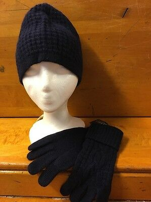 NWT Ralph Lauren Navy Blue Knit Hat And Gloves
