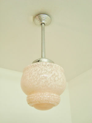 SUPERB ART DECO PINK GLASS CHANDELIER LIGHT LAMP MOTTLED SHADE FRENCH 1940's