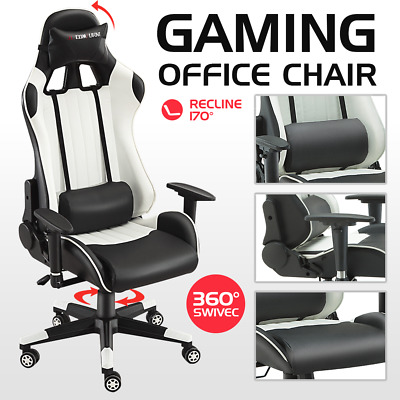 Gaming Chair Sports Racing Executive Computer Recliner Faux Leather White Soho