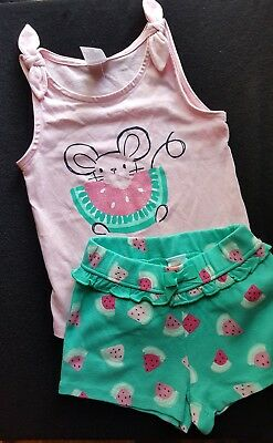 Cute Nwt 2T Infant Toddler Girl Gymboree Short Outfit Mouse Watermelon Top