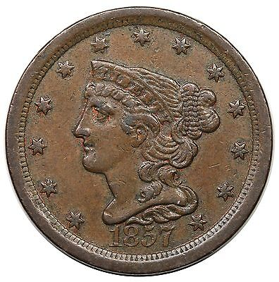 1857 Braided Hair Half Cent, C-1, nice XF
