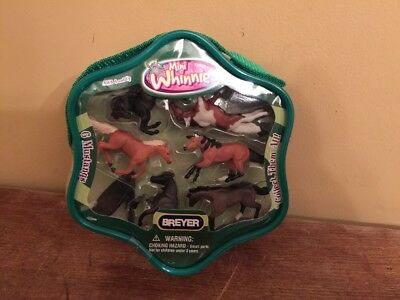 New Breyer Mini Whinnies 6 Mustang Small Horses In Case