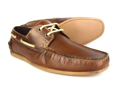 Red Tape Stratton Tan Leather Mens Casual Boat Shoes