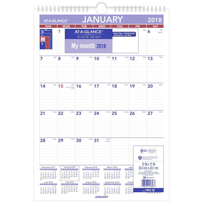 "AT-A-GLANCE Monthly Wall Calendar, January 2018 - December 2018, 12"" x 17"", Wire"