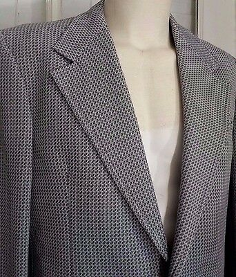 Vintage Men's 46R 70s Sportcoat Jacket Blazer Seventies Extra Large XL Polyester Houndstooth Wide Lapel Midnight Blue White Red John Blair 7kFtXN2