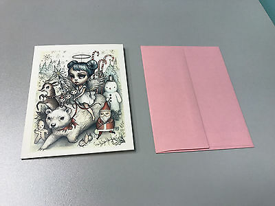 """Mab Graves 2014 Blank Note Card """"Holiday Wishes"""" with Envelope"""