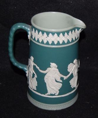 "wedgwood jasperware olive green pitcher 6"" dancing hours dudson bro's england"
