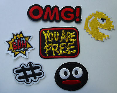 ❤️ Trend Patch Patches Aufnäher Bügelbilder Pacman OMG Hashtag you are free NEU