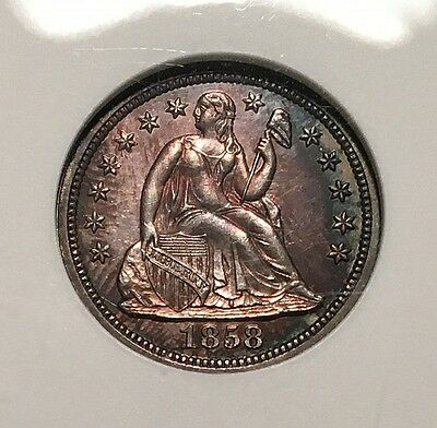 Attractive Mint State 1858 Dime Conservatively Graded in Old Holder - FAST SHIP