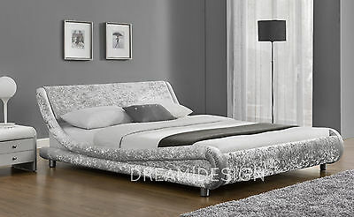 Velvet Fabric Double King Size Bed Designer Silver or Black With Mattress