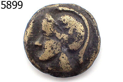 Very Old Roman Empire Trojan Soldier Face Swords Bronze Coin Silver Plated #5899