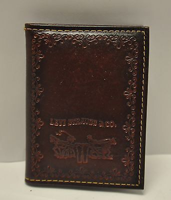 Vintage NEW Levi's Bifold Leather Denim Wallet Embossed Levi Strauss Logo USA